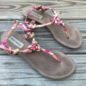 Steve Madden Women Sandal Thong Fabric Upper Cushi